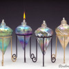 Iridized Pointed with Stand-color:left to right-Green, Blue, Mardi-Gras, Gold