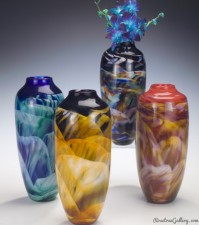 Classic Dreamscape Vase-color:left to right-Blue/Green, Amber/Black/White, Black/Rainbow, Purple/Pink/White