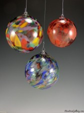 Ornaments-color:left to right-Hot Mix/Cool Mix Speckled, Rainbow Moray, Red Luster Speckled