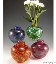Round Bud Vase-color:left to right- Rainbow, Hot Mix, Green/White, Pink/Green