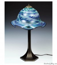 Table Lamp with Metal Base-color: Blue/Green