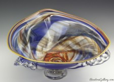 Marble Bowl-color:Blue/Rainbow