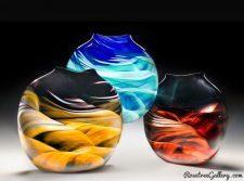 Medallion Vase-color:left to right- Amber/Black/White, Blue/Green, Red/Black