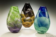 Teardrop Vase-color:left to right-Amethyst/Green, Amber/Black/White, Blue/Green